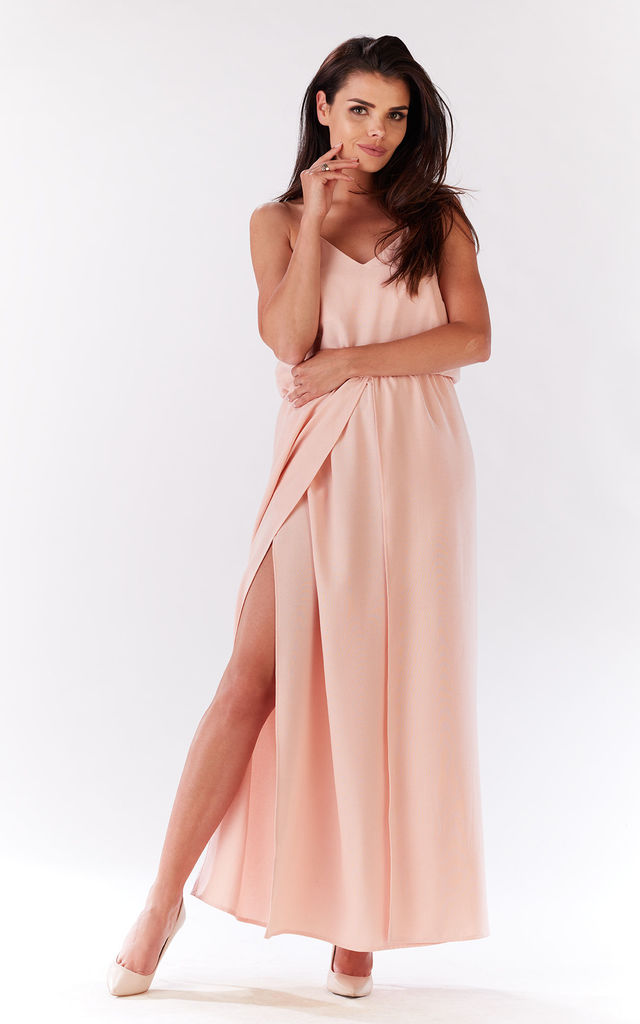 Powder Pink Open Leg Maxi Dress by AWAMA