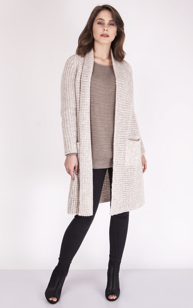 Long Two Pocket Knitted Cardigan - beige by MKM Knitwear Design