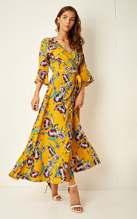Amaris Yellow Floral Wrap Maxi Dress by Frontrow Limited