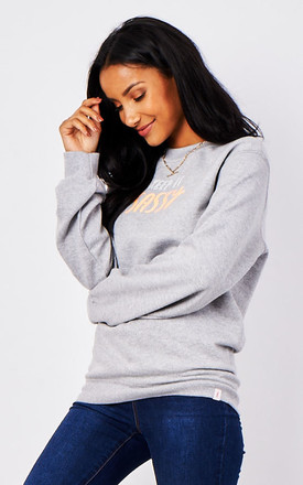 Oversized Grey Sweatshirt with Keep It Sassy Slogan by Rock On Ruby