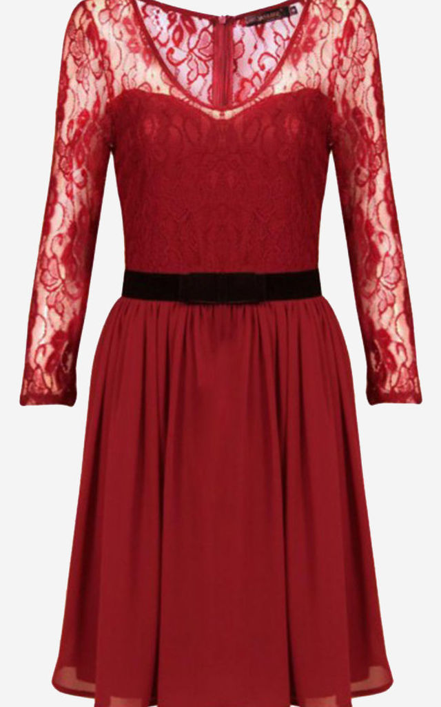 Burgundy Sweetheart Lace Velvet Bow Dress by Pussycat London