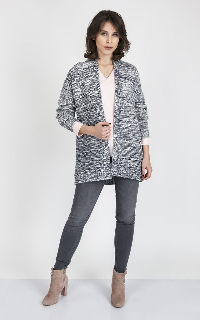 Printed Cardigan In Grey & Navy by MKM Knitwear Design