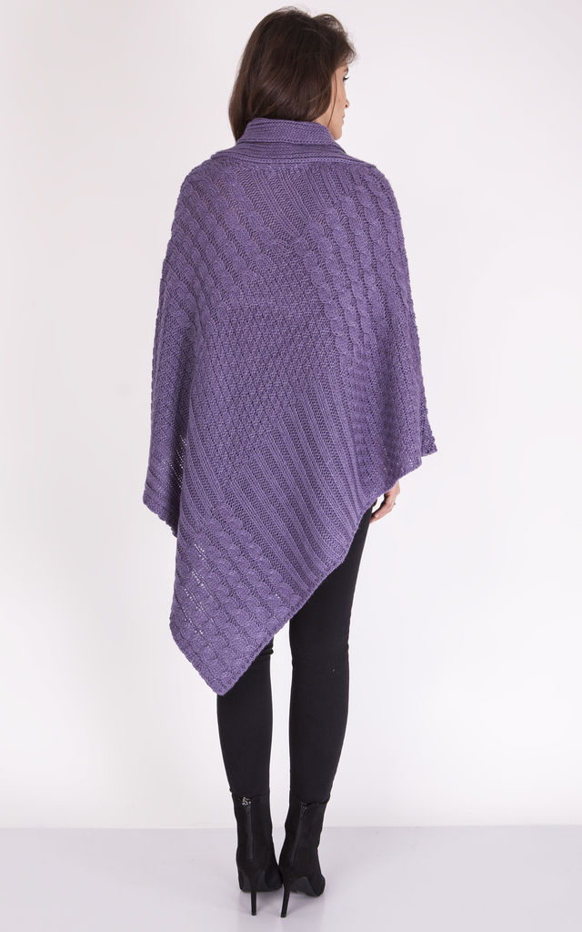 Knitted Poncho - purple by MKM Knitwear Design