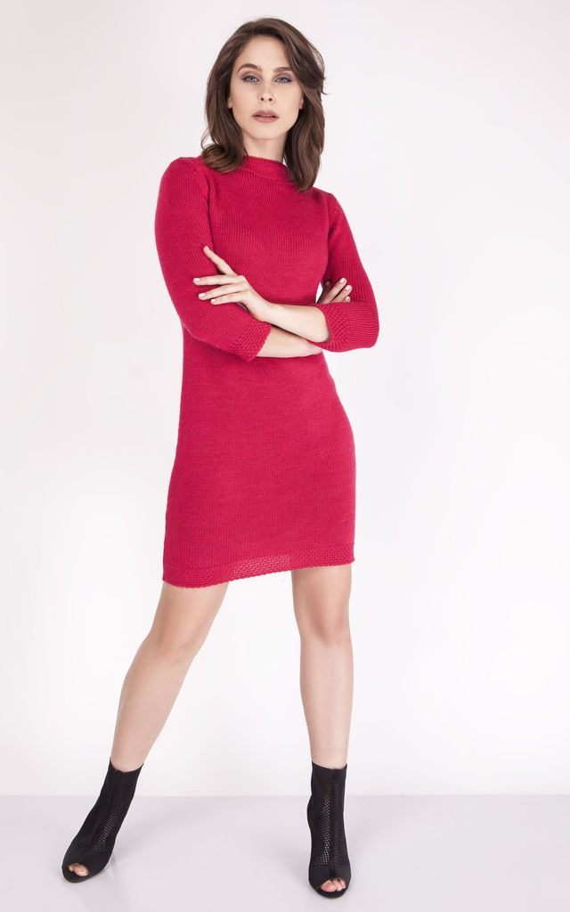 A simple knitted dress - raspberry by MKM Knitwear Design