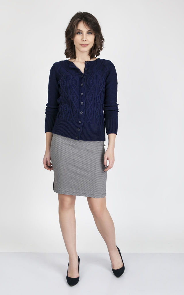 Knitted Buttoned Cardigan- navy by MKM Knitwear Design