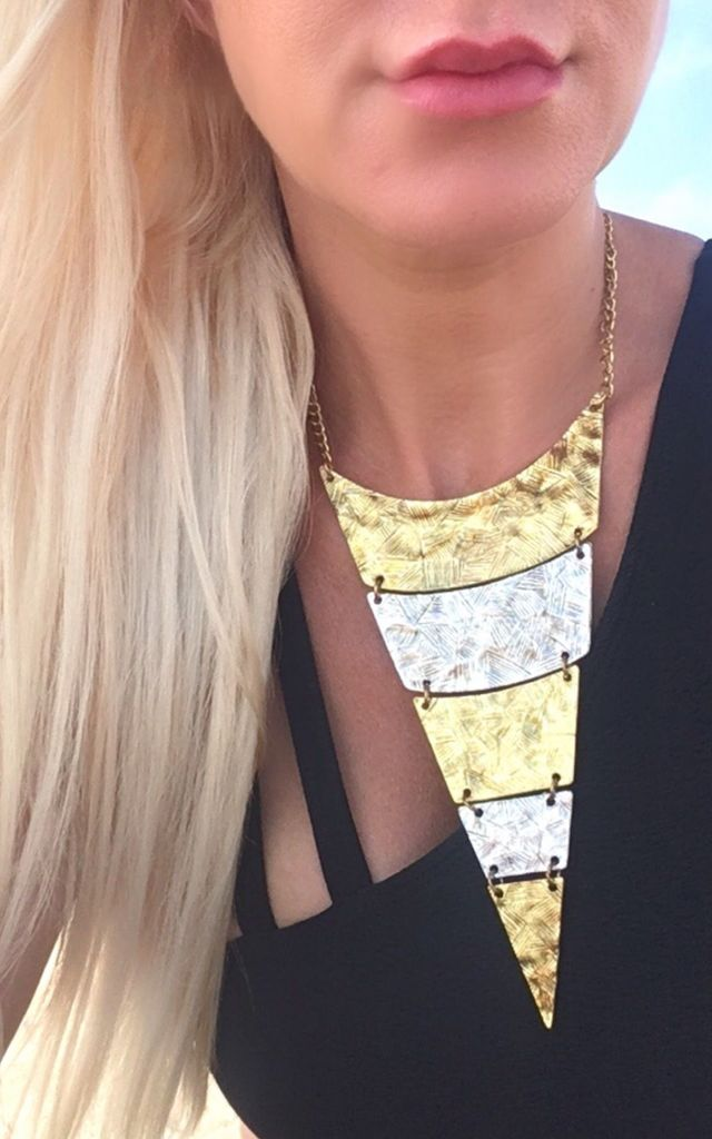 Sansa statement gold and silver pyrmid necklace by Lovelock jewels