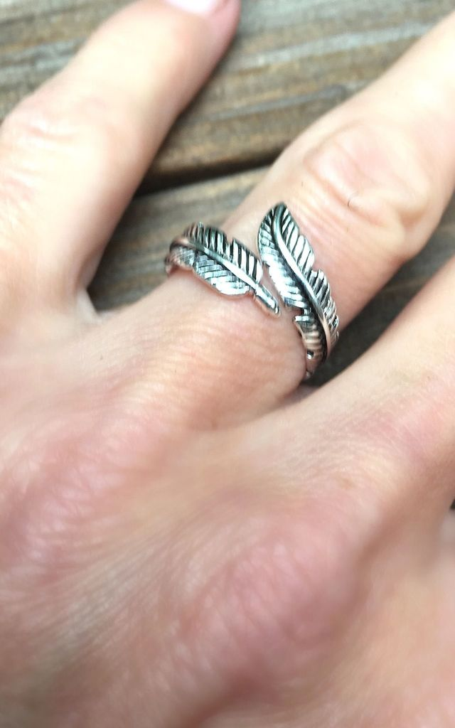 Sterling silver wrap feather ring by Lovelock jewels