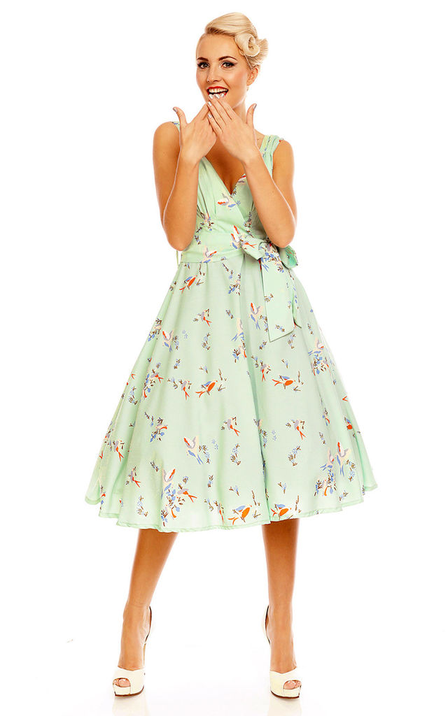 full range of specifications latest trends of 2019 marketable Retro Vintage 1950's Swing Swallow Bird Print Summer Dress By Looking Glam