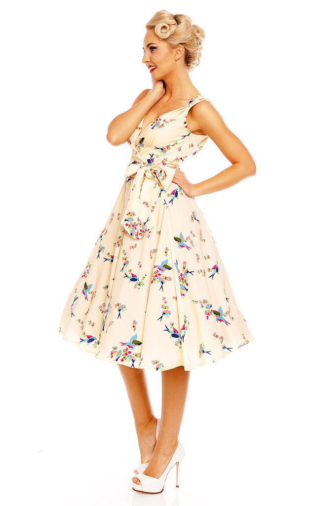 Retro Vintage 1950's Swing Swallow Bird Print Summer Dress by Looking Glam