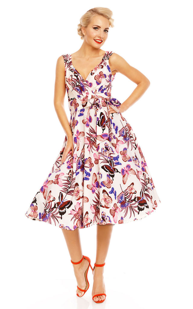 Retro Vintage 1950's Swing Butterfly Print Summer Dress by Looking Glam