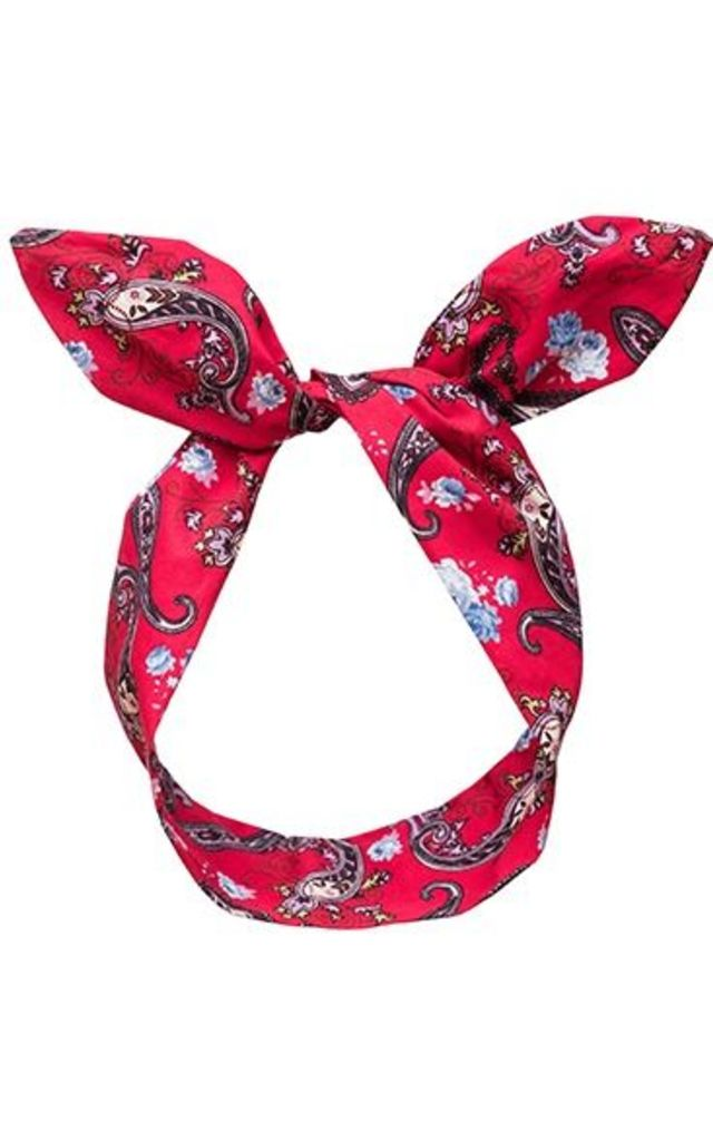Red Paisley Print Wired Headband by LULU IN THE SKY