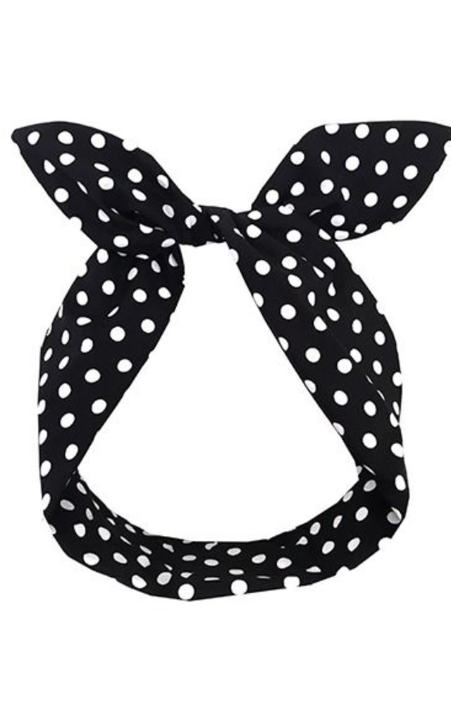 Black Polka Dot Wired Headband by LULU IN THE SKY