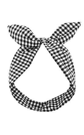 Black And White Gingham Wired Headband by LULU IN THE SKY