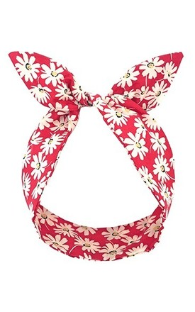 Red Daisy Print Wired Headband by LULU IN THE SKY