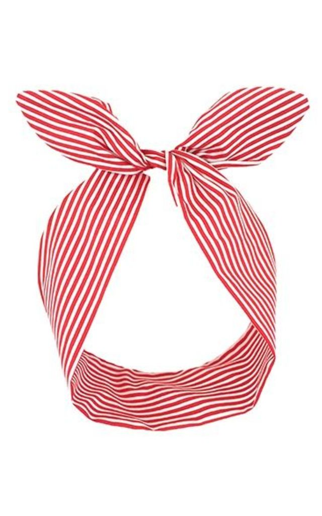 Red And White Stripe Wired Headband by LULU IN THE SKY