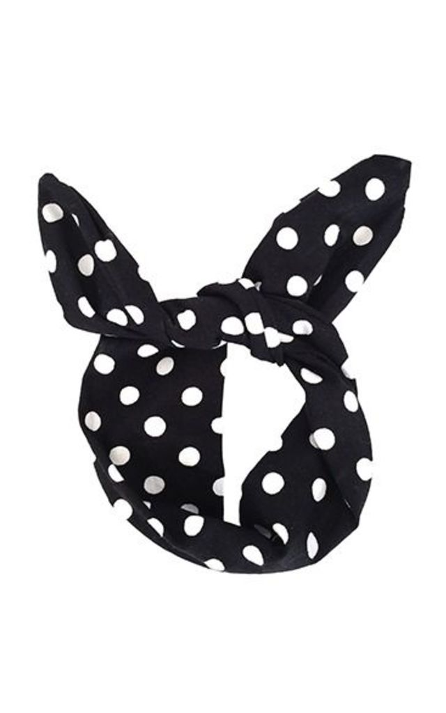 Black And white Polka Dot Hair Wrap - Top Knot by LULU IN THE SKY