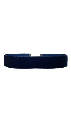 Navy Blue Velvet Wide Choker - Necklace by LULU IN THE SKY