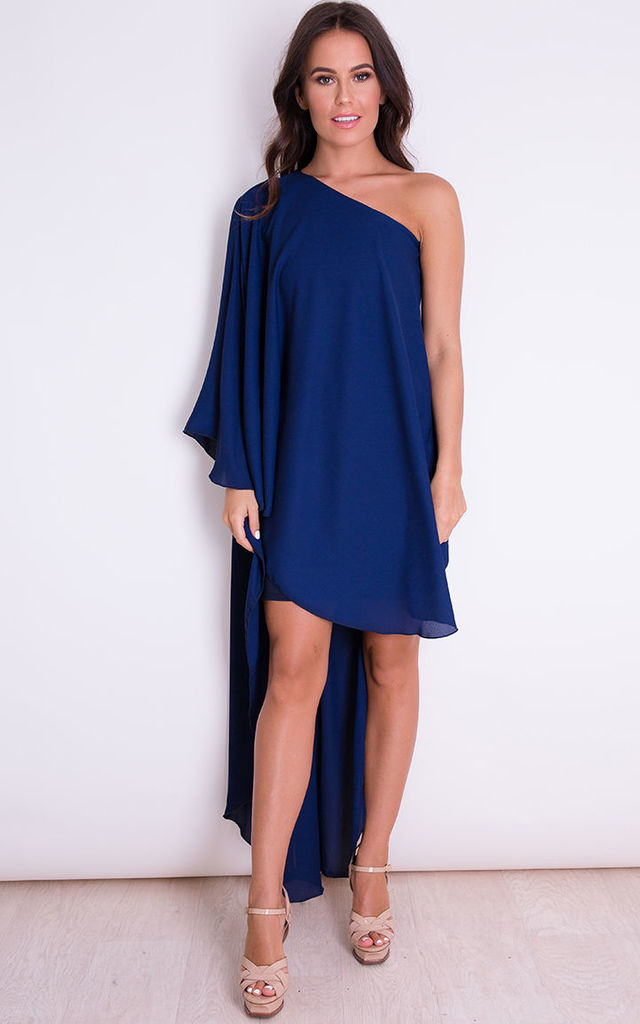 Phoebe One Shoulder Sleeve Shift Dress Navy by Girl In Mind