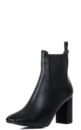 SILVANA Slip On Block Heel Chelsea Ankle Boots - Black Leather Style by SpyLoveBuy