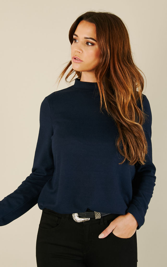 Navy Long Sleeved High Neck Top by Noisy May