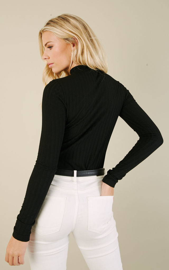 Black Long Sleeve Turtleneck Top by Pieces