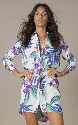 Mini Shirt Dress in White Tropical by Dancing Leopard