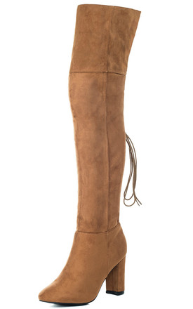 MAIDEN Lace Up Block Heel Over Knee Tall Boots - Tan Suede Style by SpyLoveBuy