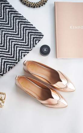 Liberty Pink Gold Metallic flat loafers shoes by SEIRA ELVES