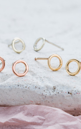 18ct Rose Gold Fine Geometric Circle Earrings by Posh Totty Designs