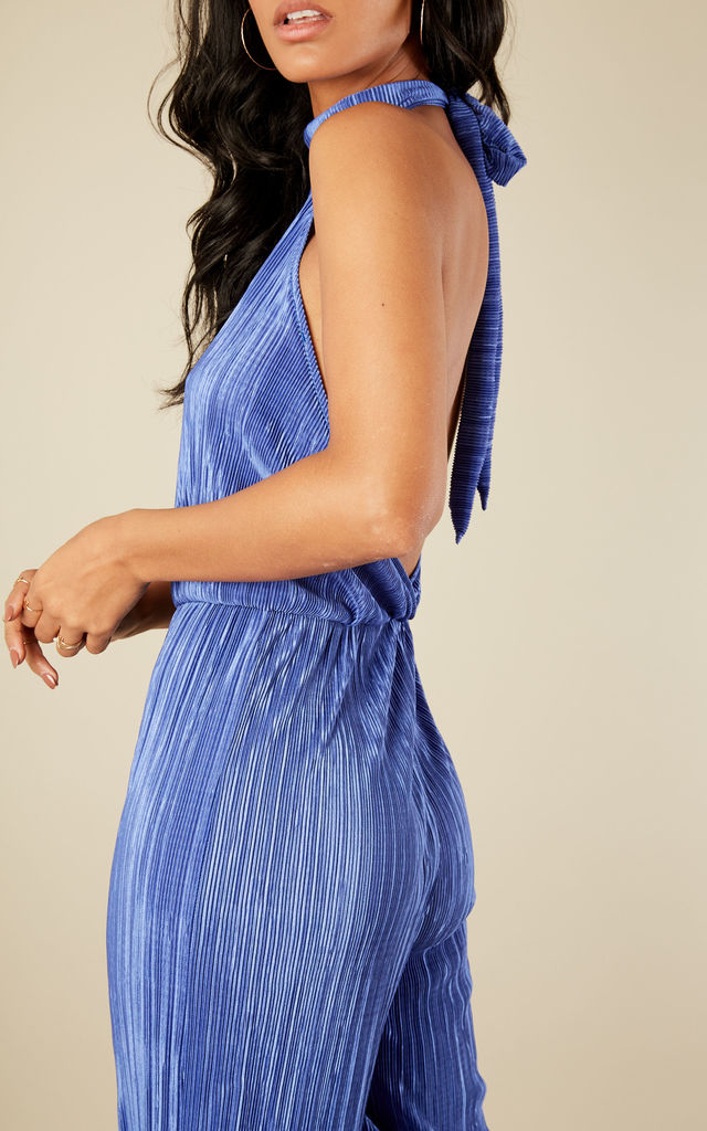 Royal Blue Pleated Halterneck Low Back Jumpsuit by Bella and Blue