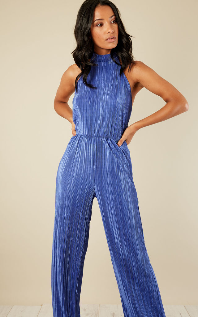 Royal Blue Pleated Halterneck Low Back Jumpsuit by Lilah Rose