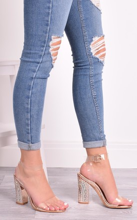 Ebony Rose Gold Clear Strap Heels by Solewish