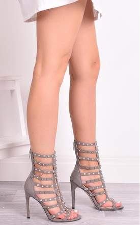 Tayla Grey Caged High Heels Sandals by Solewish
