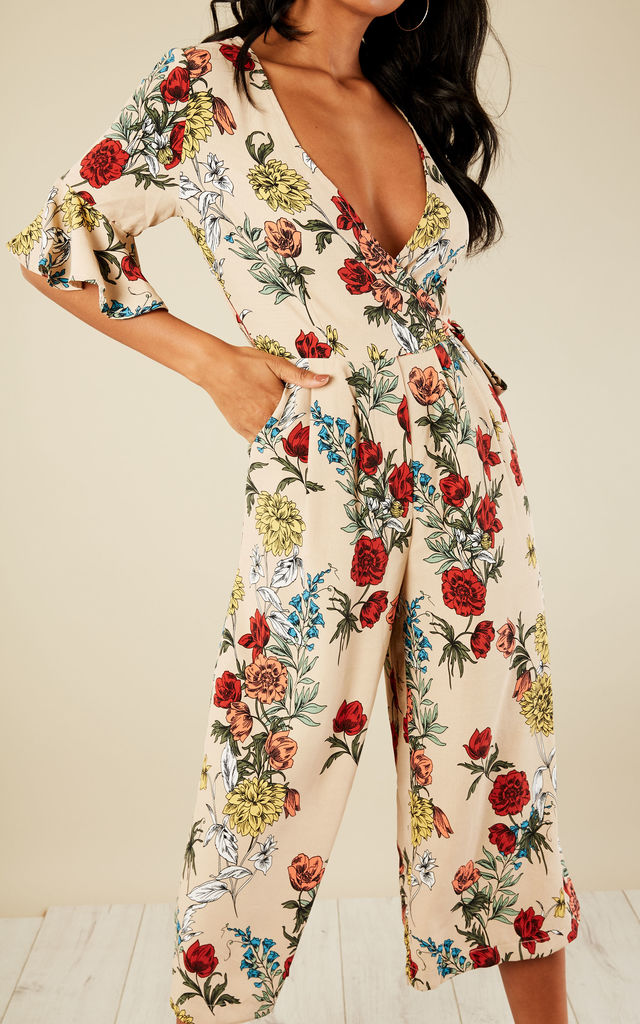 8584c7a65e1 Floral Wrap Wide Leg Jumpsuit | Bella and Blue | SilkFred