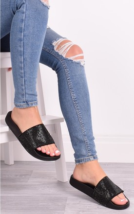 Tilly All Black Diamante Sliders by Solewish