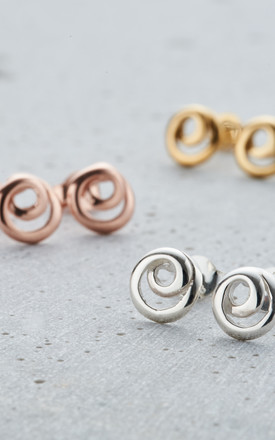 Mini Loop Stud Earrings in 925 Sterling Silver by Posh Totty Designs