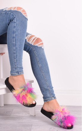 Brianna Multi Feather Sliders by Solewish