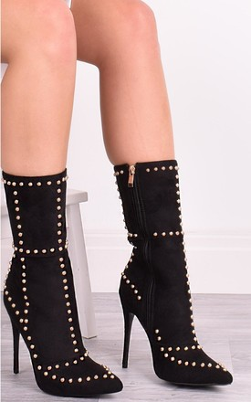 Ava Black Studded Pointy Boots by Solewish