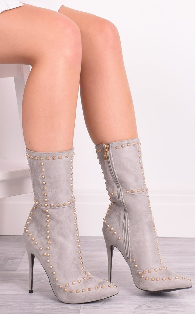 Ava Grey Studded Pointy Boots by Solewish
