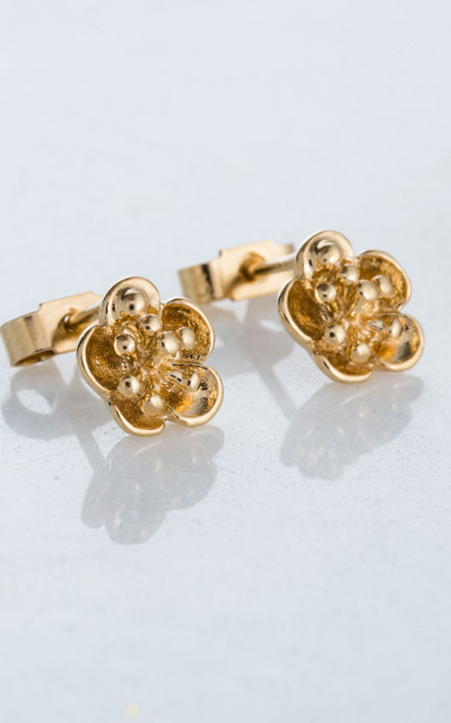 Flower Stud Earrings in 18ct Yellow Gold by Posh Totty Designs