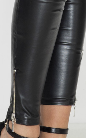 Black Faux Leather Trousers with Zips by LENITIF