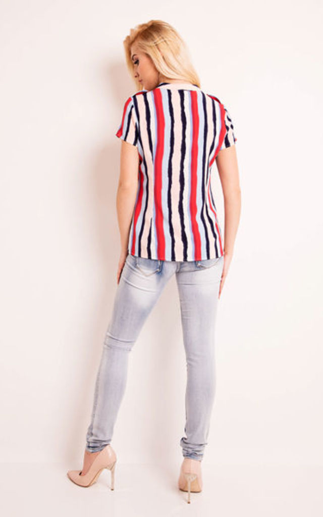 Vertical Stripe Short Sleeves Blouse by AWAMA