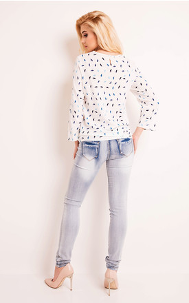 White Long Sleeves Blouse With Print by AWAMA
