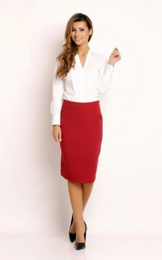 Red Classic Pencil Skirt by AWAMA