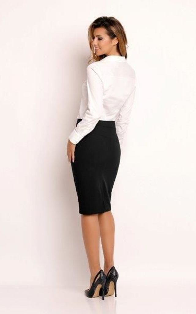 Black Classic Pencil Skirt by AWAMA