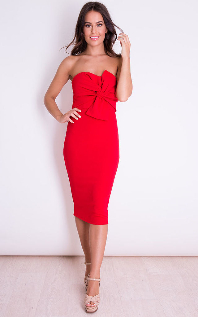 Kendall Knot Front Strapless Midi Dress Red by Girl In Mind