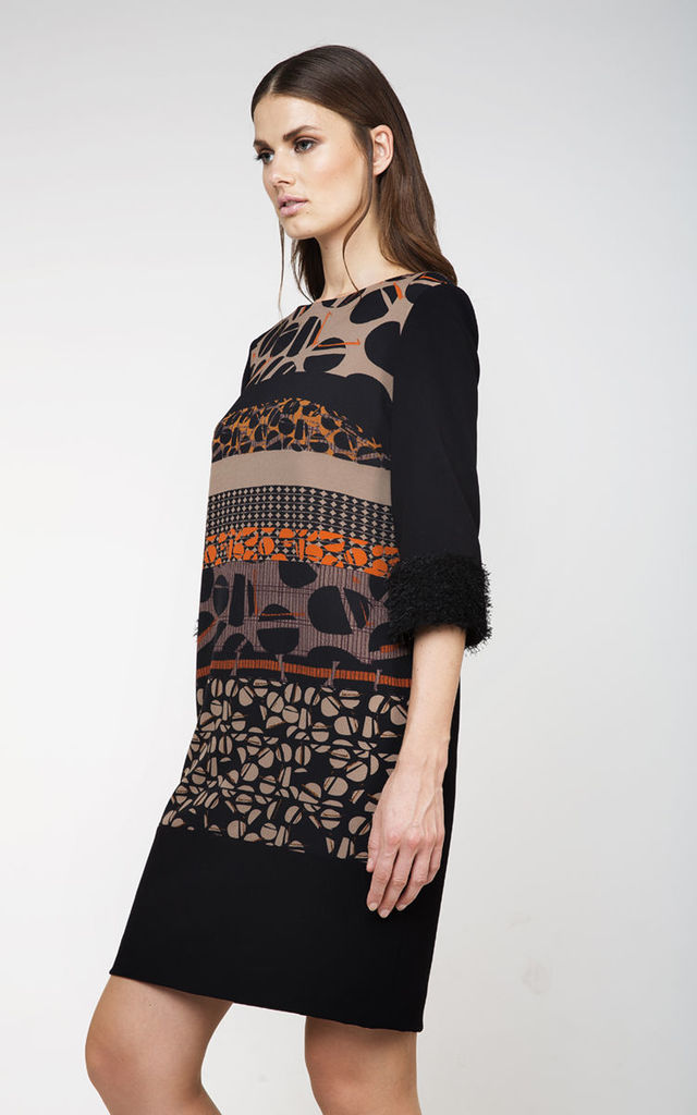 Straight Print Detail Dress in Black/Multi by Conquista Fashion