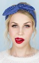 Blue and White Mini Polka Dot Wired Headband by LULU IN THE SKY