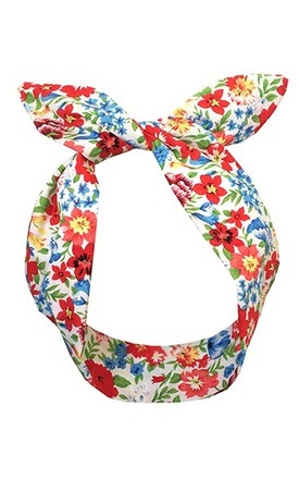 Red and Blue Floral Wired Headband by LULU IN THE SKY
