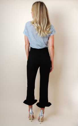 Frill Hem High Waisted Trousers - Black by Pretty Lavish